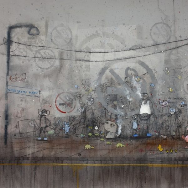 Project GreyHope Smoking Fags at the Exit, Oil on Board 80 x 121 cm.