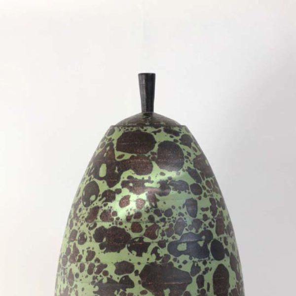 Christiane Wilhelm 29b. Lidded Vessel, black and green Stoneware Ht. 45 cm.