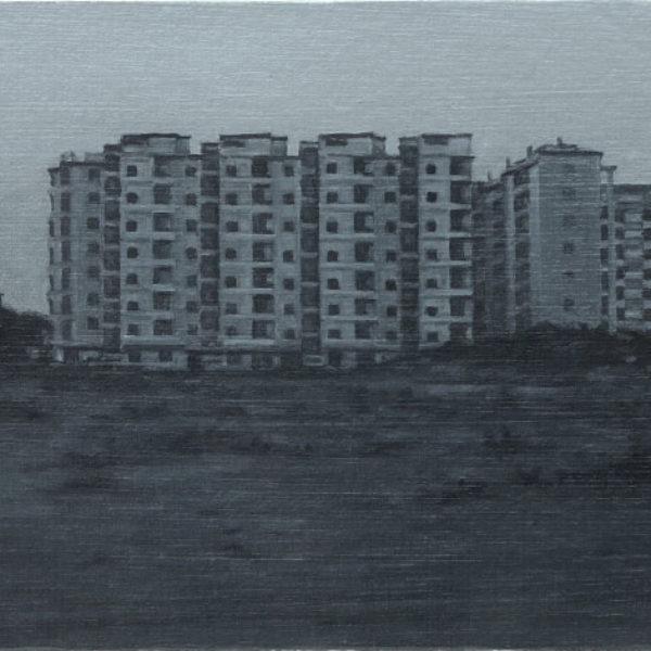 Nicholas Middleton Apartment Block at Dawn, Oil on paper on card 10 x 15 cm.