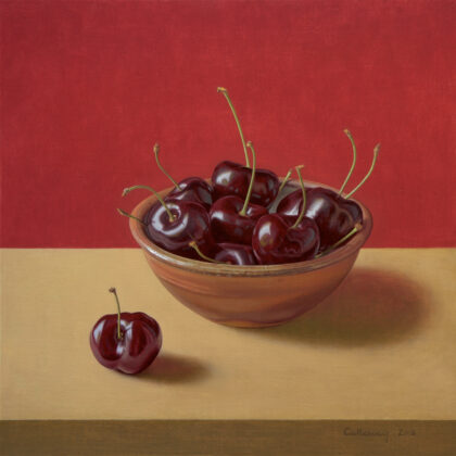 Alex Callaway Bowl of Cherries Oil on linen panel 40 x 40 cm