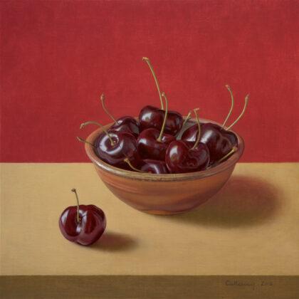Alex Callaway Bowl of Cherries Oil on linen panel 40 x 40 cm