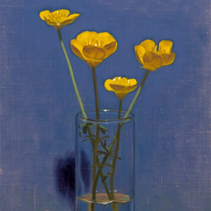 Alex Callaway Buttercups in a Shot Glass, Oil on Linen Panel 30 x 19 cm