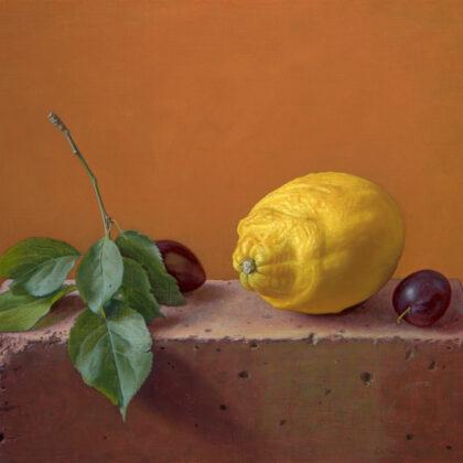 Alex Callaway Lemon and Damsons on a Brick, Oil on Linen Panel 30 x 40 cm