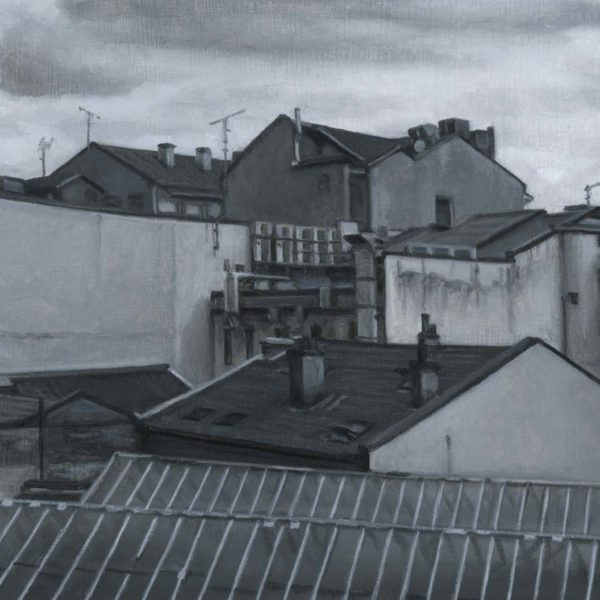 Nicholas Middleton Rooftops, Oil on paper on card 10 x 15 cm.
