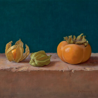 Alex Callaway Sharon with Physalis Oil on panel 25 x 30 cm
