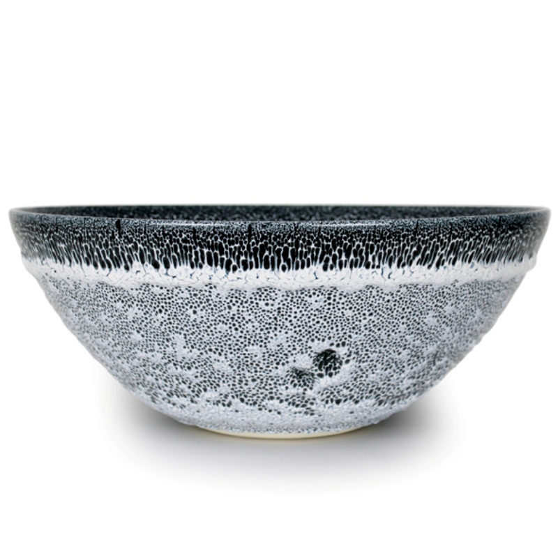 Albert Montserrat Black and White Bowl with Oil Spot Glazes, Thrown Porcelain ht. 20 x Ø 50 cm.