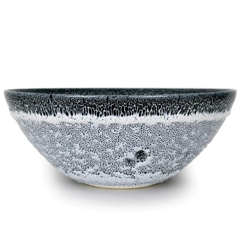 Albert Montserrat Black and White Bowl with Oil Spot Glazes, Thrown Porcelain ht. 20 x Ø 50 cm.