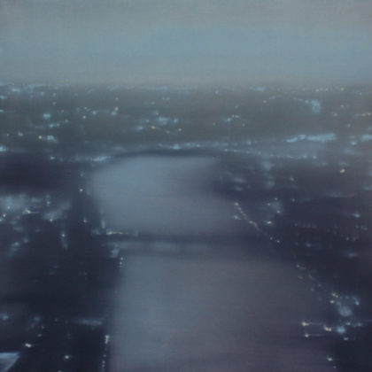 Jenny Pockley Battersea Reach, Oil on Gesso 30 x 30 cm.