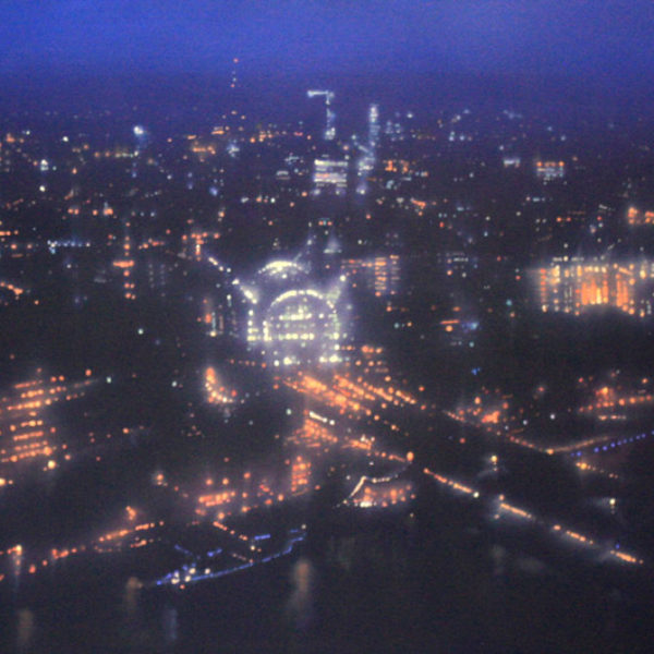 Jenny Pockley Blue Charing Cross Oil on Gesso 40 x 60 cm.