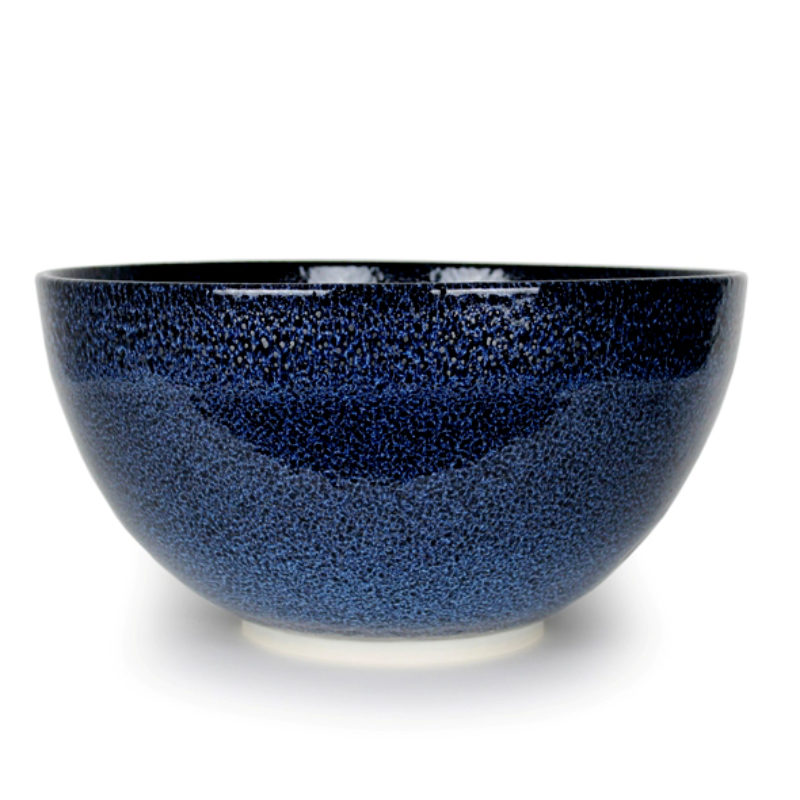 Albert Montserrat Blue Bowl with Oil Spot Glazes Thrown Porcelain ht. 25 x Ø 50 cm.