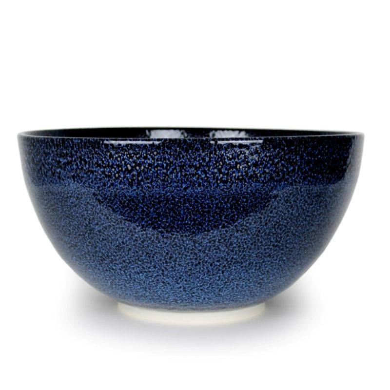 Albert Montserrat Blue Bowl with Oil Spot Glazes Thrown Porcelain ht. 25 x Ø 50 cm.