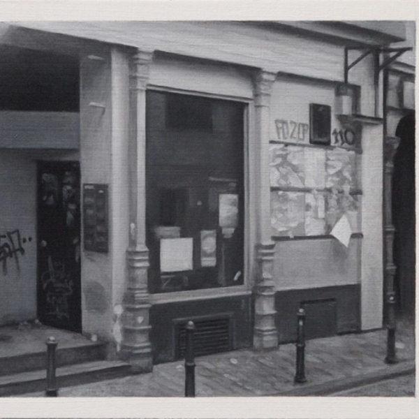 nicholas middleton Boarded Shopfront, Oil on Card 10 x 15 cm.