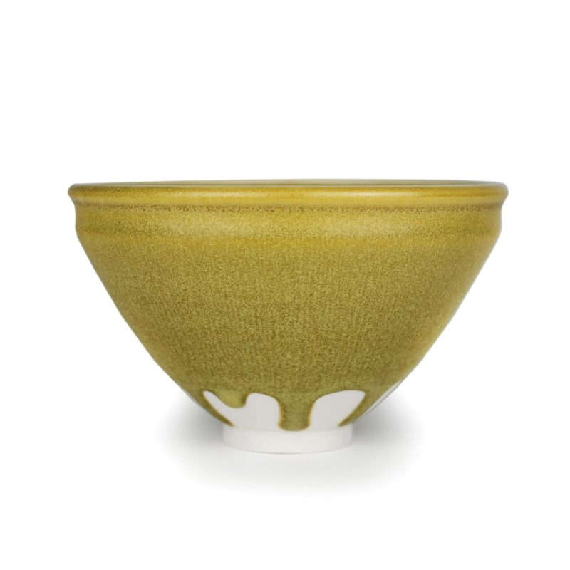 Albert Montserrat Bowl with Green Matt Streaked Glazes_Porcelain 9 x Ø 15 cm.