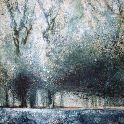 Stewart Edmondson Chiff Chaff Calls and the Woods Sing, Acrylic on paper 76 x 76 cm.