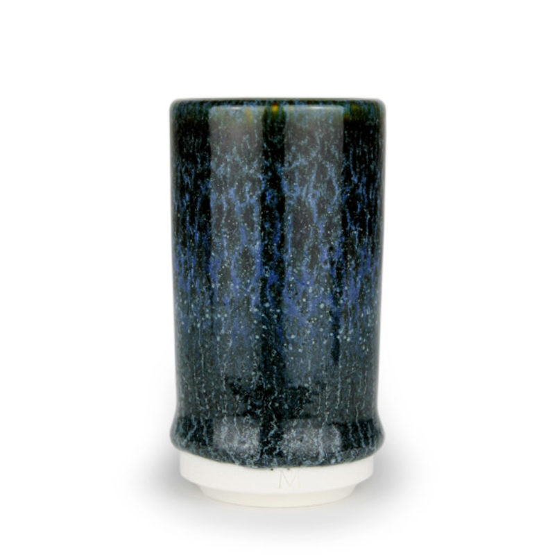 albert-montserrat Small Blue-Black Cylinder, Glazed Porcelain ht. 9.5 x Ø 5 cm.
