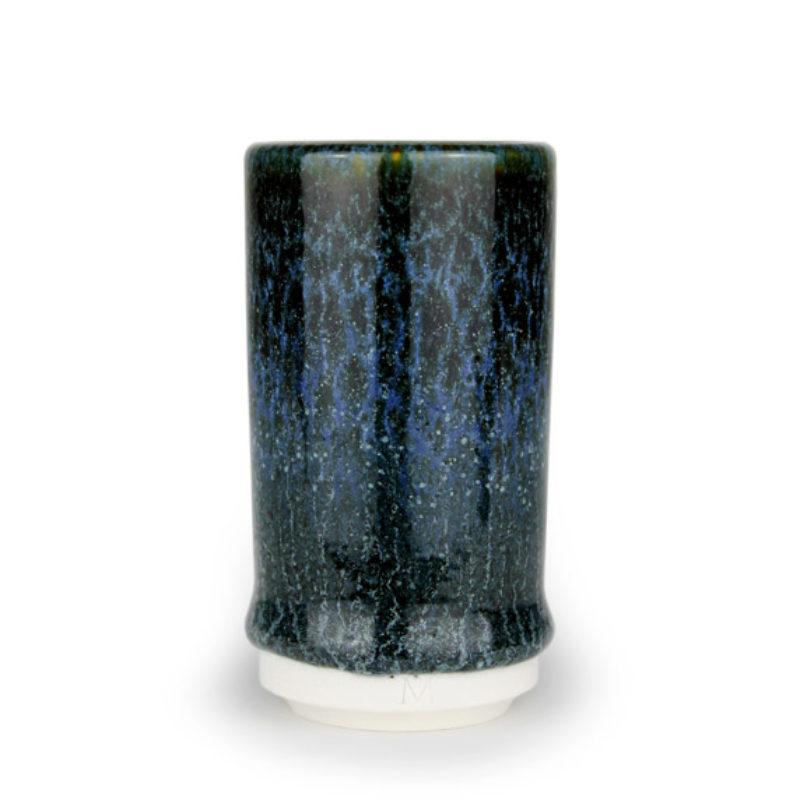 albert-montserrat Small Blue-Black Cylinder, Glazed Porcelain ht. 9.5 x Ø 5 cm.
