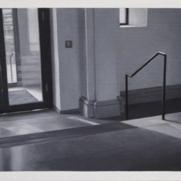 Nicholas Middleton Lobby with Steps and Handrail, Oil on Card 10 x 15 cm.