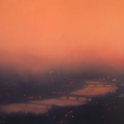 Jenny Pockley, Riverscape -Orange 120 x 135cms Oil on Canvas