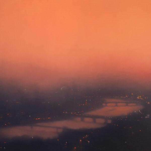 Jenny Pockley, Riverscape -Orange 120 x 135cms Oil on Canvas