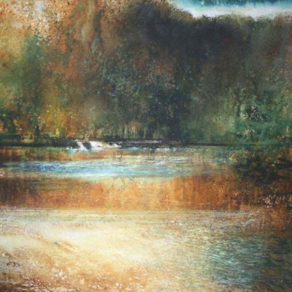 Stewart Edmondson Through Golden Pool Acrylic on paper 81 x 77 cm.