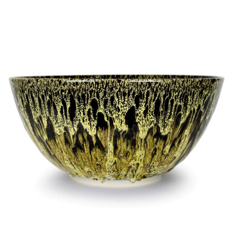 Albert Montserrat Yellow Bowl with Oil Spot Glazes Thrown Porcelain ht. 28 x Ø 48 cm.