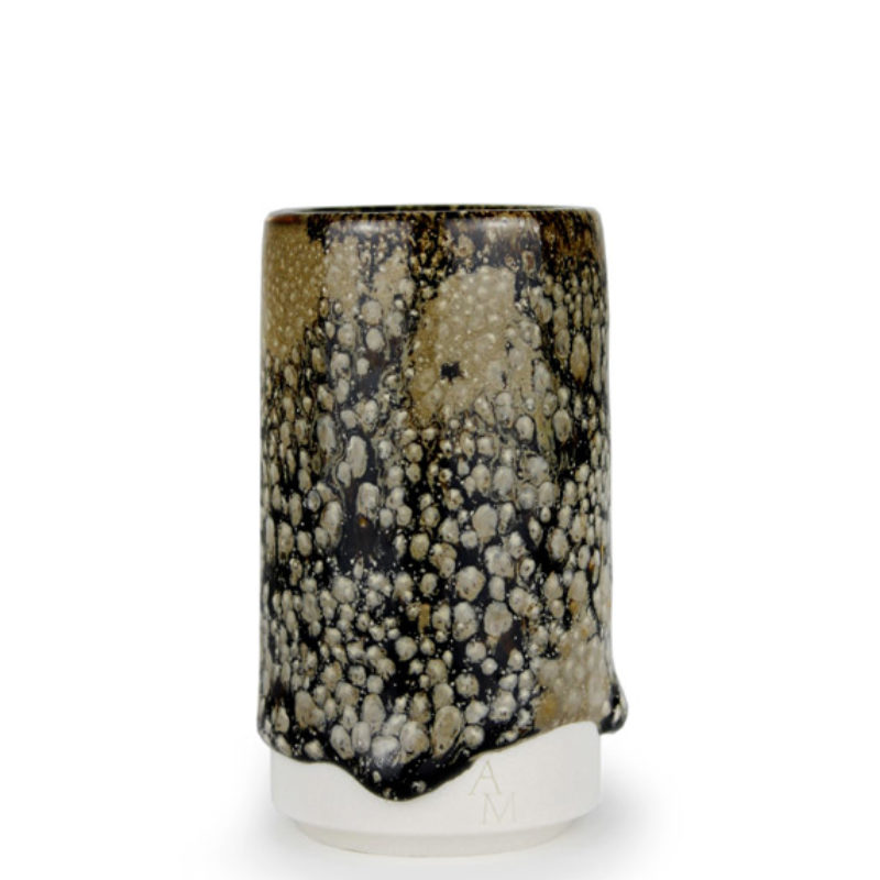 albert-montserrat Small Black-born Cylinder, Glazed Porcelain ht. 9.5 x Ø 5 cm.