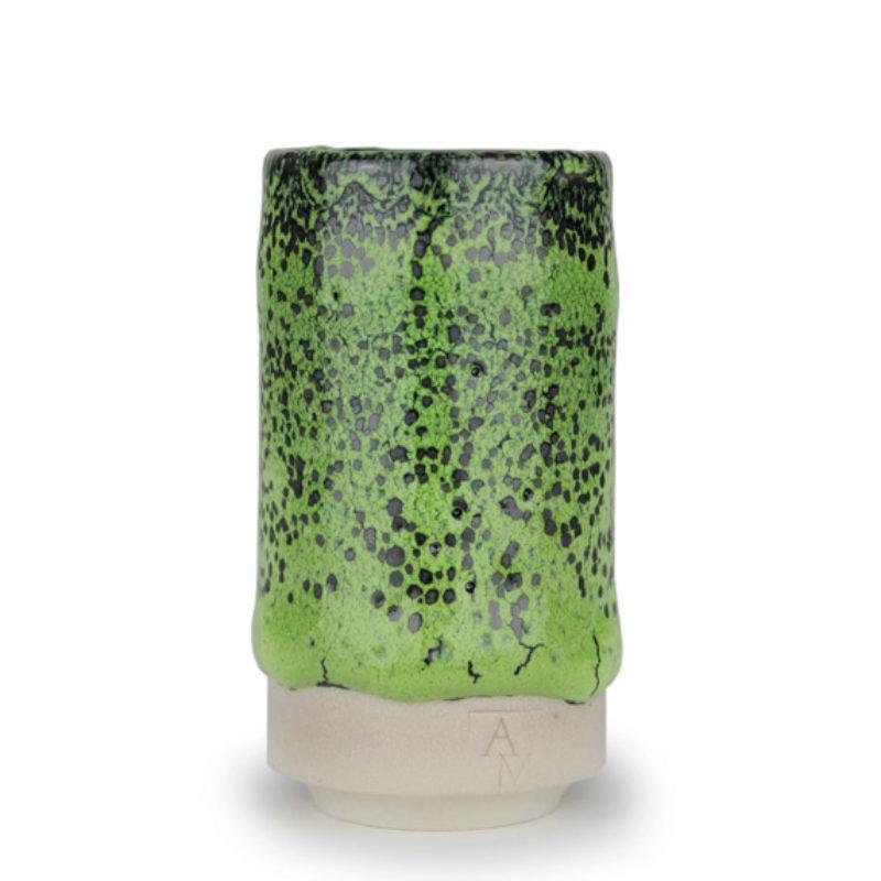 albert-montserrat Small Black-Green Cylinder, Glazed Porcelain ht. 9.5 x Ø 5 cm.