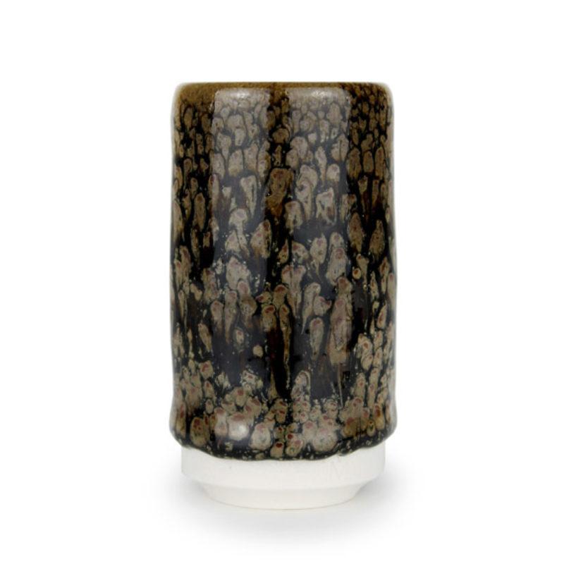 albert-montserrat Small Brown-black Cylinder, Glazed Porcelain ht. 9.5 x Ø 5 cm.