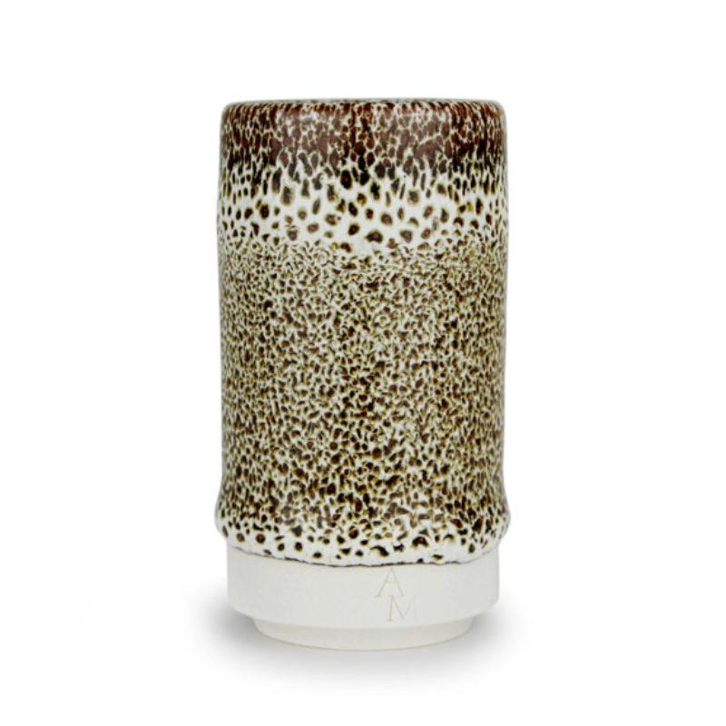 albert-montserrat Small Brown-white Cylinder, Glazed Porcelain ht. 9.5 x Ø 5 cm.