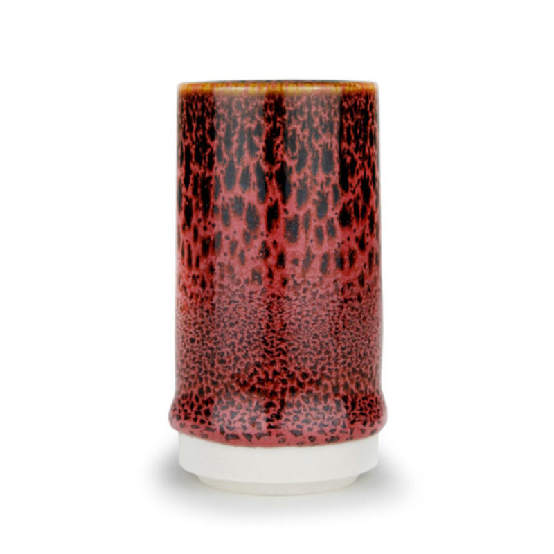 albert-montserrat Small Red-black Cylinder, Glazed Porcelain ht. 9.5 x Ø 5 cm.