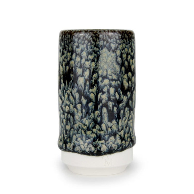 albert-montserrat Small Black drippy Cylinder, Glazed Porcelain ht. 9.5 x Ø 5 cm.
