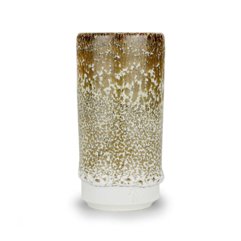 albert-montserrat Small Light Brown Speckled Cylinder, Glazed Porcelain ht. 9.5 x Ø 5 cm.