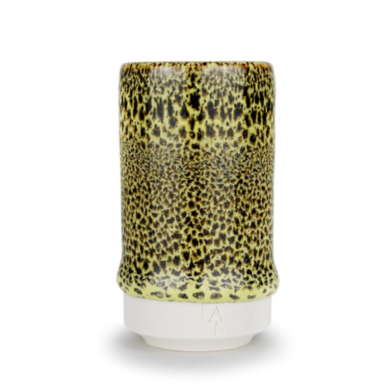 albert-montserrat Small Black-Yellow Speckled Speckled Cylinder, Glazed Porcelain ht. 9.5 x Ø 5 cm.