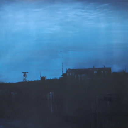 Jenny Pockley, Mackerel Sky 100 x 100cm, Oil on Carborundum