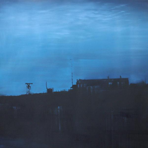 Jenny Pockley, Mackerel Sky 100 x 100cm, Oil on Carborundum