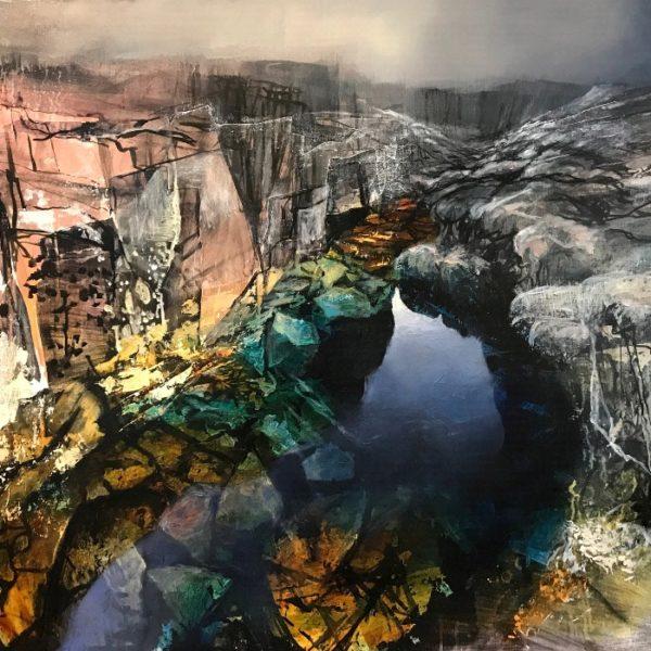 Beth Robertson Fiddes Deep Pool, Mixed Media on Marine Ply 106.5 x 76 cm.