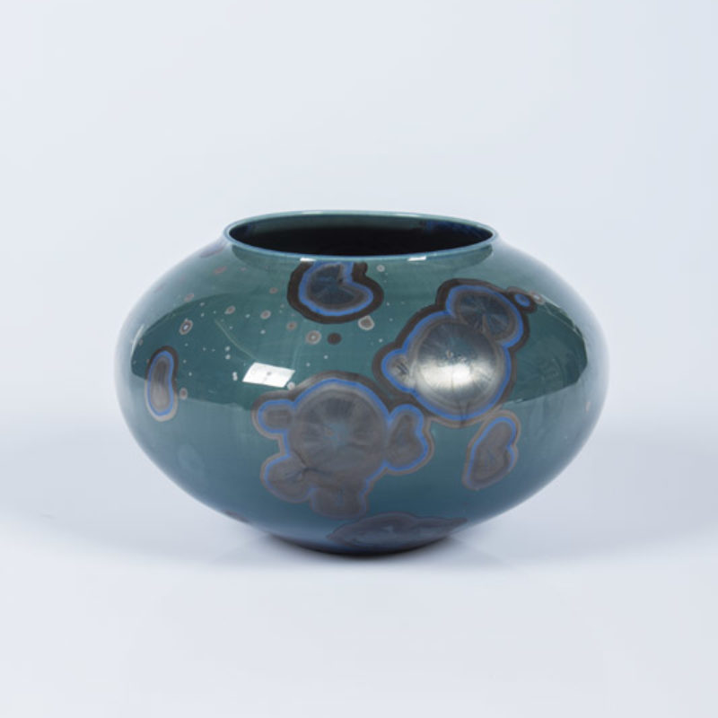Matt Horne 27. Dark Blue/Green Open Vessel, Porcelain with Crystalline Glaze h10 x 14 cm.