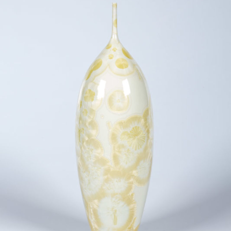 Matt Horne 29. Tall Cream and Yellow Vase, Porcelain with Crystalline Glaze h33 x 10 cm.