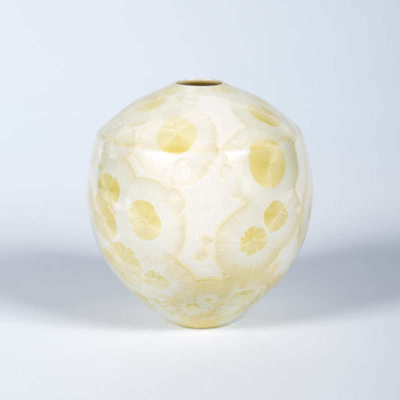 Matt Horne 32. Small Cream and Yellow Vase, Porcelain with Crystalline Glaze h13 x 11 cm.