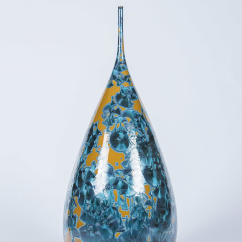 Matt Horne 7. Tall Yellow and Blue Vase, Porcelain with Crystalline Glaze h50 x 18 cm.