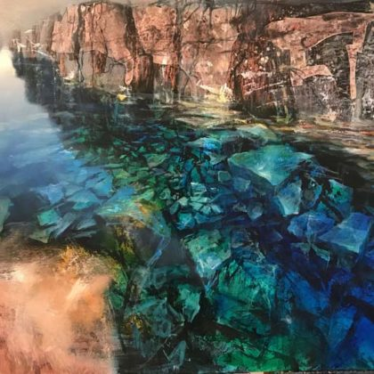 Beth Robertson Fiddes Clear Water Iceland, Mixed Media on Wood 81 x 122 cm.