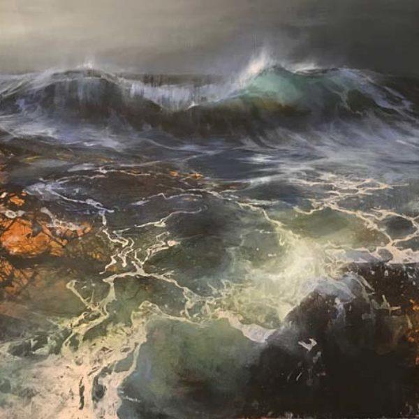 Beth Robertson Fiddes Dark Tides, Mixed Media on Wood 89 x 153 cm.