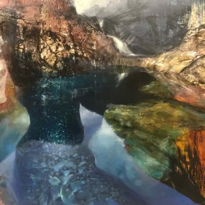 Beth Robertson Fiddes Deep Pool Skye, Mixed Media on Marine Ply 92 x 122 cm.