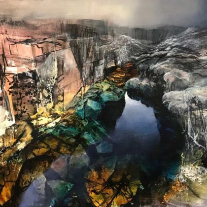 Beth Robertson Fiddes Deep Pool, Mixed Media on Wood 76 x 107 cm.