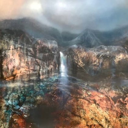 Beth Robertson Fiddes Falls Fairy Pools Skye, Mixed Media on Wood 97 x 122 cm.