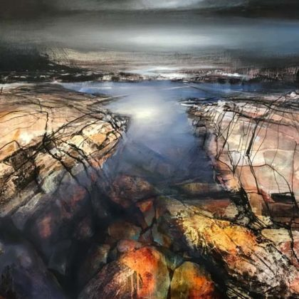 Beth Robertson Fiddes Waiting for the Tides, Mixed Media on v76 x 107 cm.