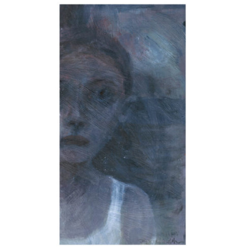 Joy Wolfenden Brown Young Woman IV (Pale Moon), Oil on paper 13 x 24 cm.