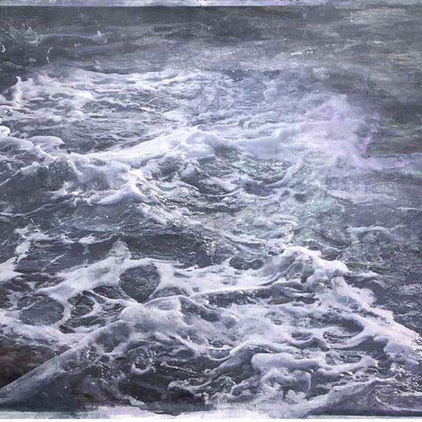 Dawnne McGeachy 2_55.5254° N, 4.9333° W, Oil Wax and Ink on canvas 93 x 123 cm.