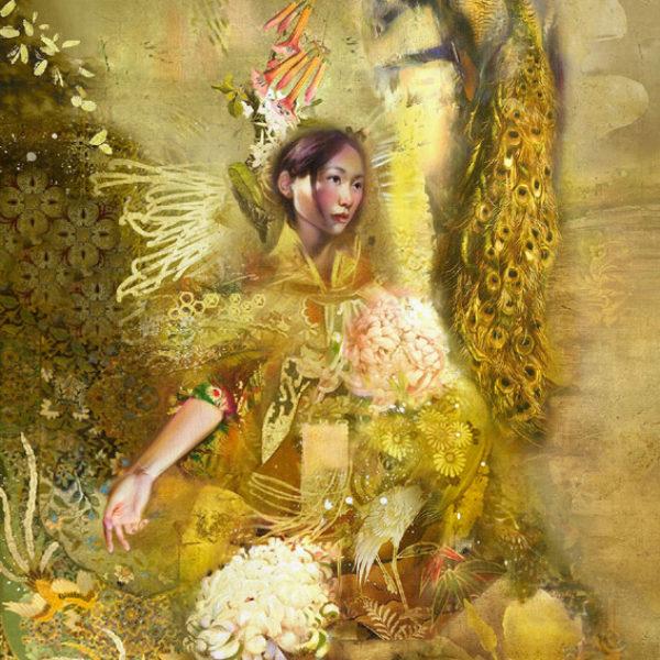 Iva Troj Dancer Series IV Pastel, paint acrylic, gold leaf, Pencil on Canvas 60 x 90 cm.