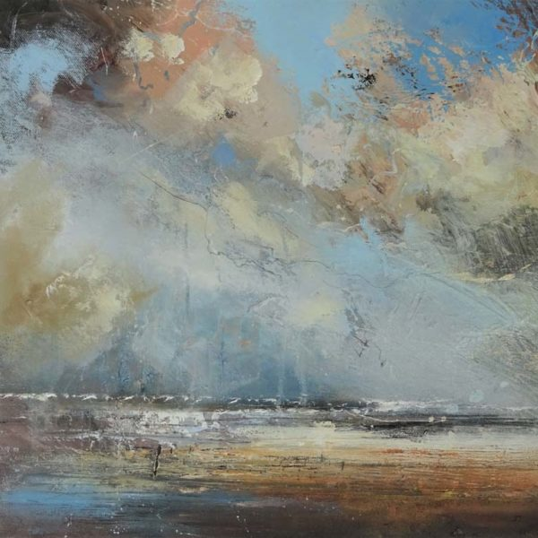 Claire Wiltsher Drifting, Mixed media on canvas 40 x 40 cm.